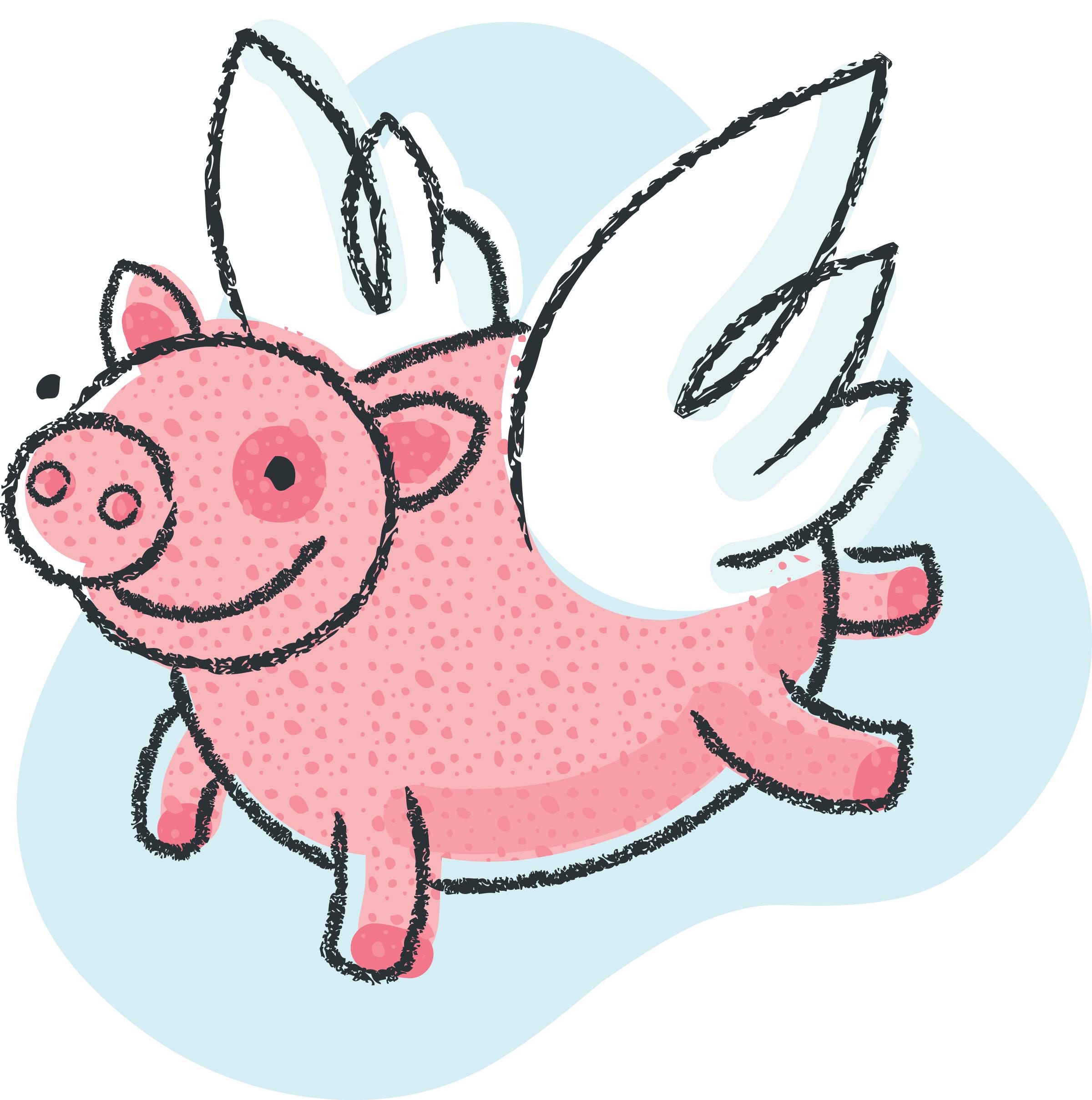 Cute Pigs Wings Cartoon