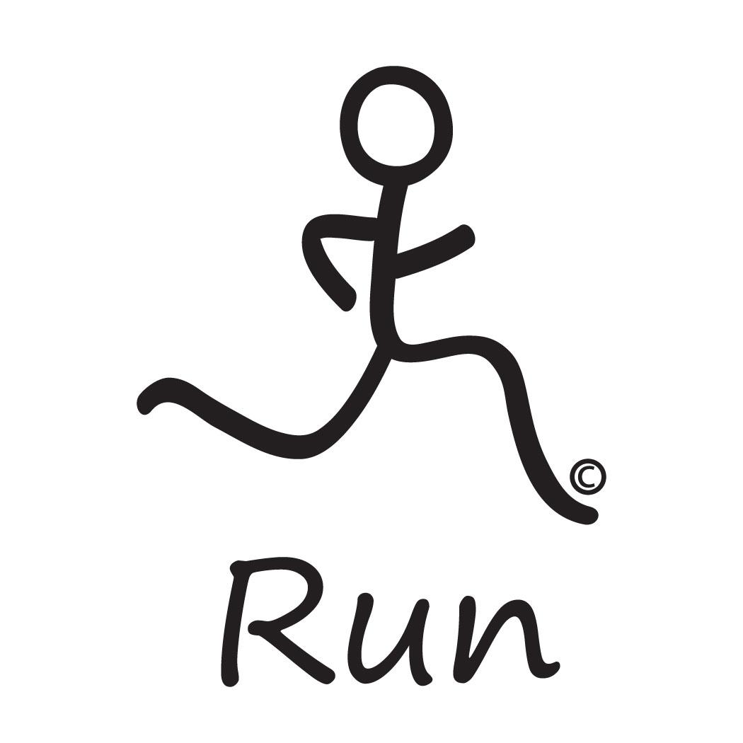Running Tshirt Short Sleeve Run Boy Black Stick Figure