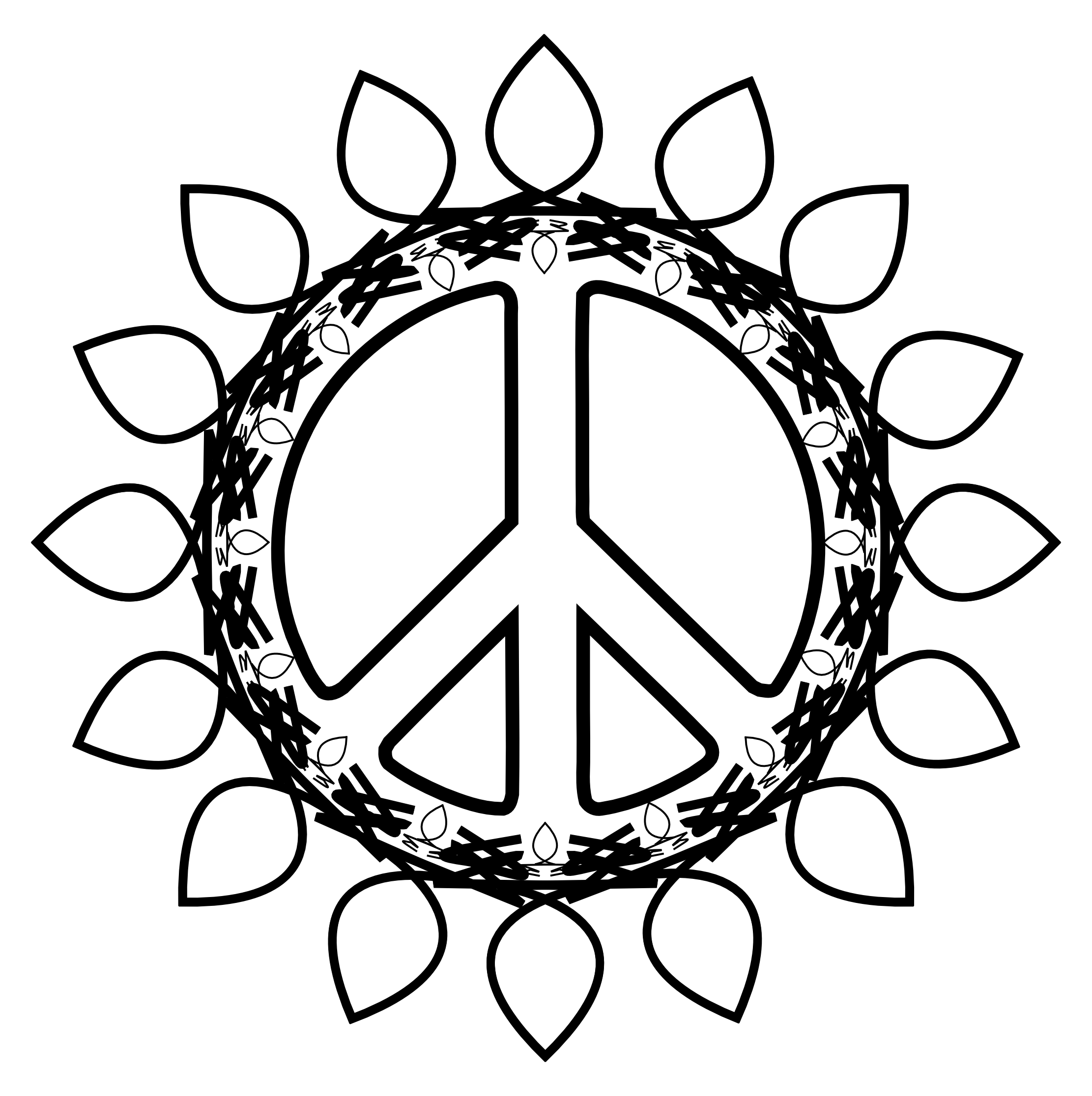 Peace Symbol Peace Sign Flower 73 Black White Line Art