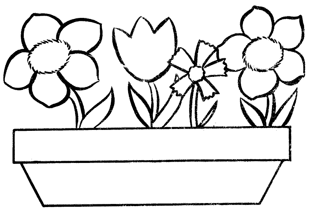 flower pot coloring page printable kids colouring pages