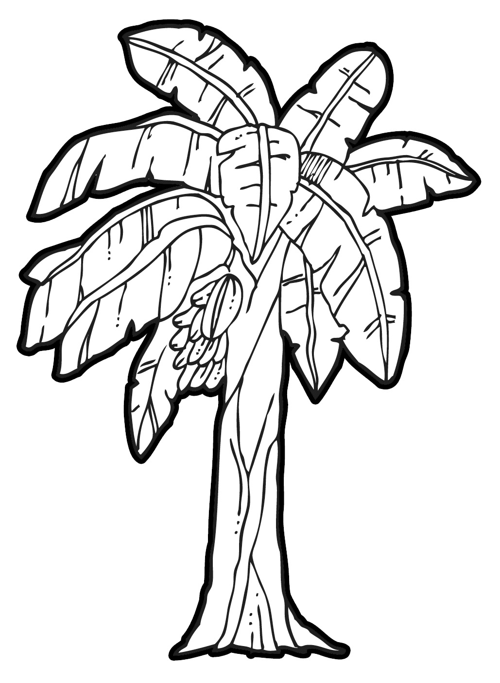 banana tree leaf colouring pages
