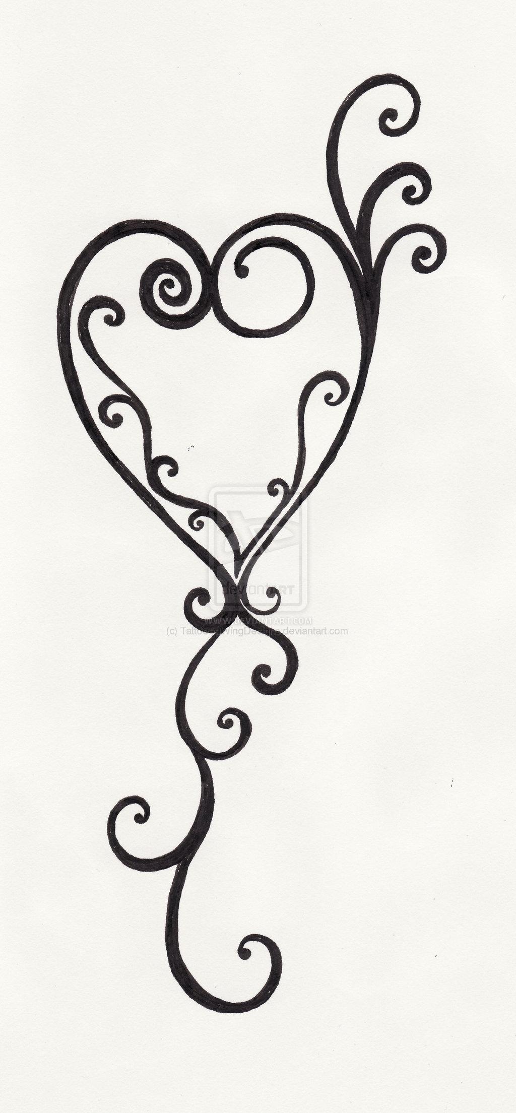 Swirling Heart Tattoo
