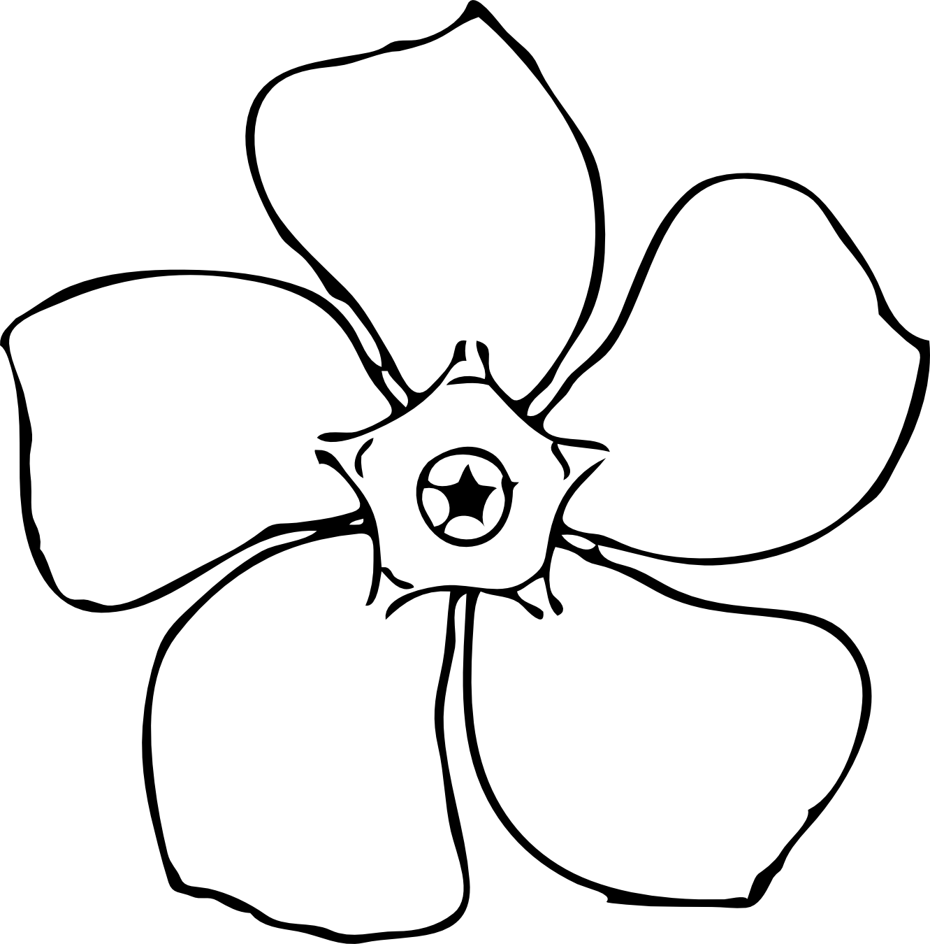 Simple Flower Black And White Clipart