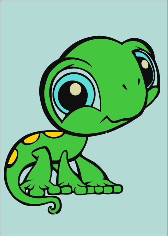 big eyed animated animals colouring pages