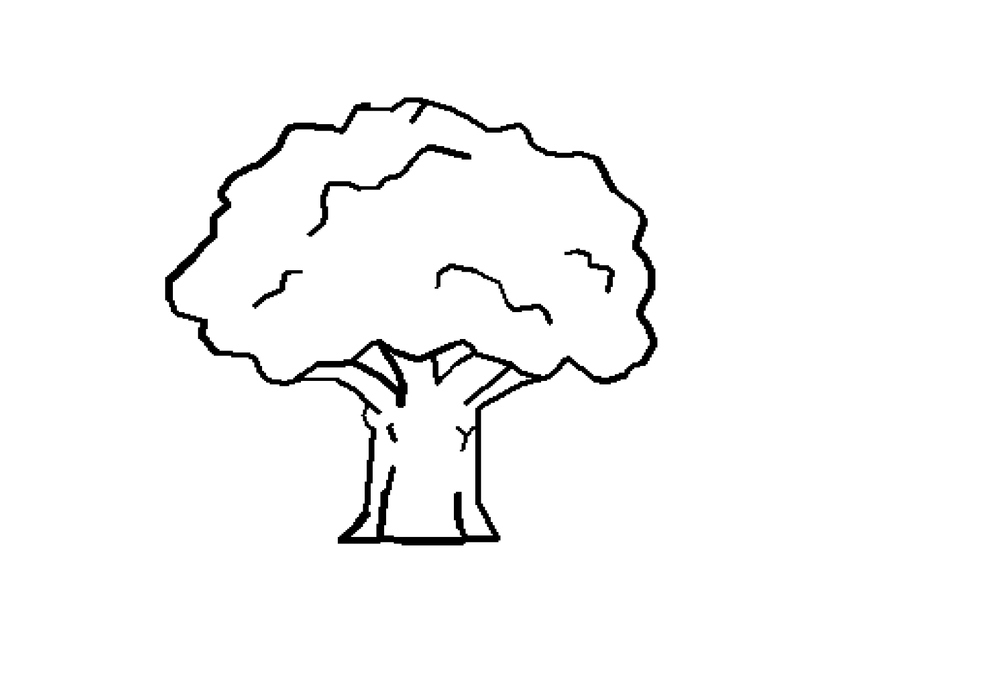Tree Black White Line Art Coloring Book Colouring October