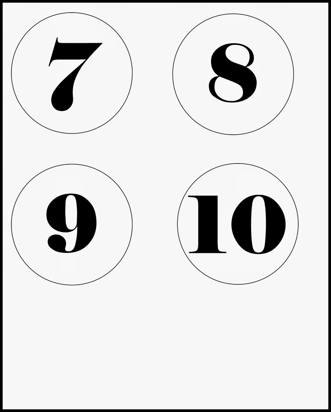 9 Number Template