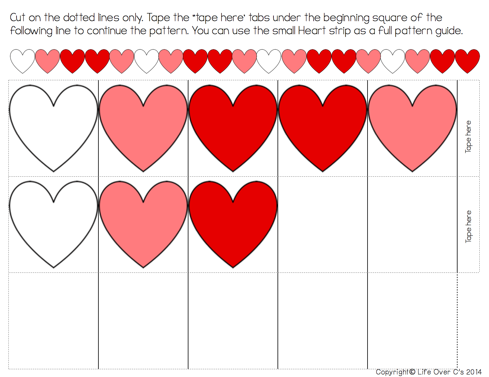 Cut Out Heart Worksheets