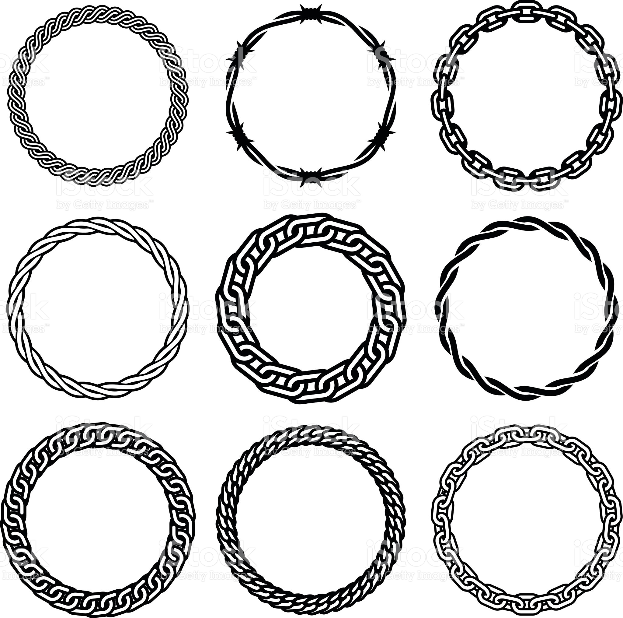 Oval Barbed Wire Vector Graphic