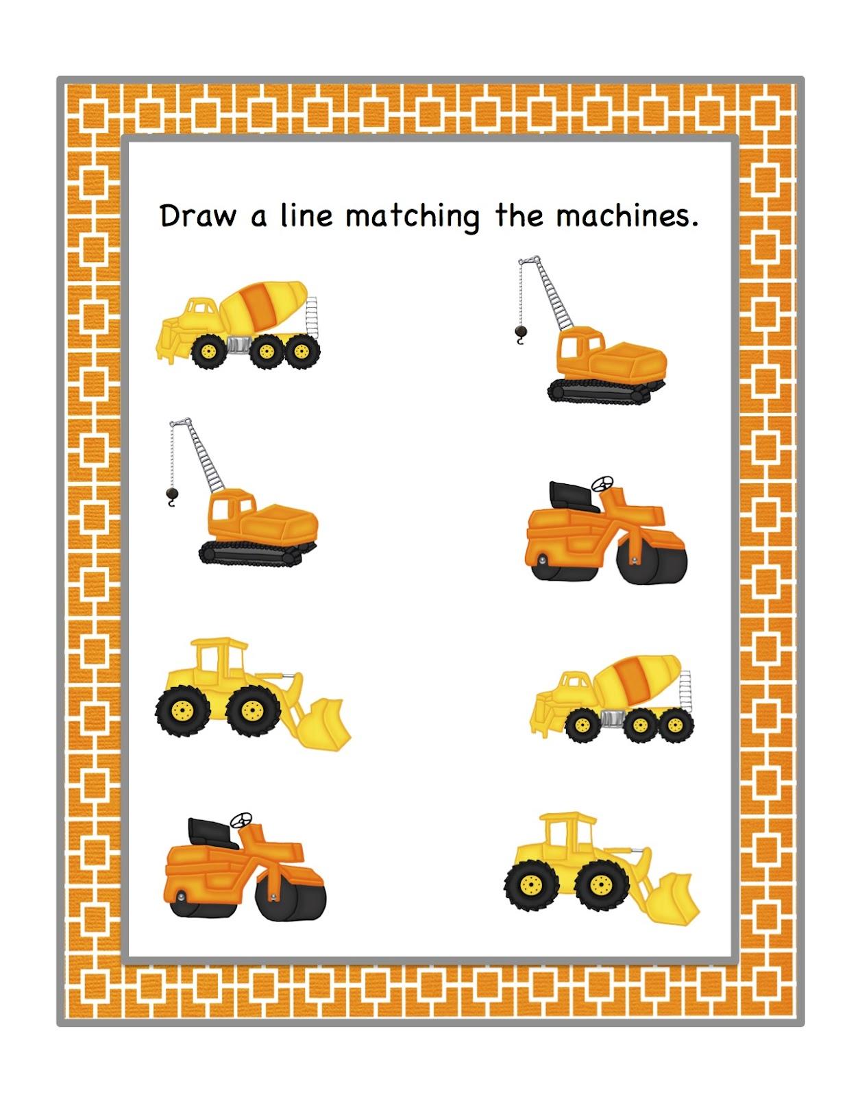 Preschool Printables Construction Machines Printable