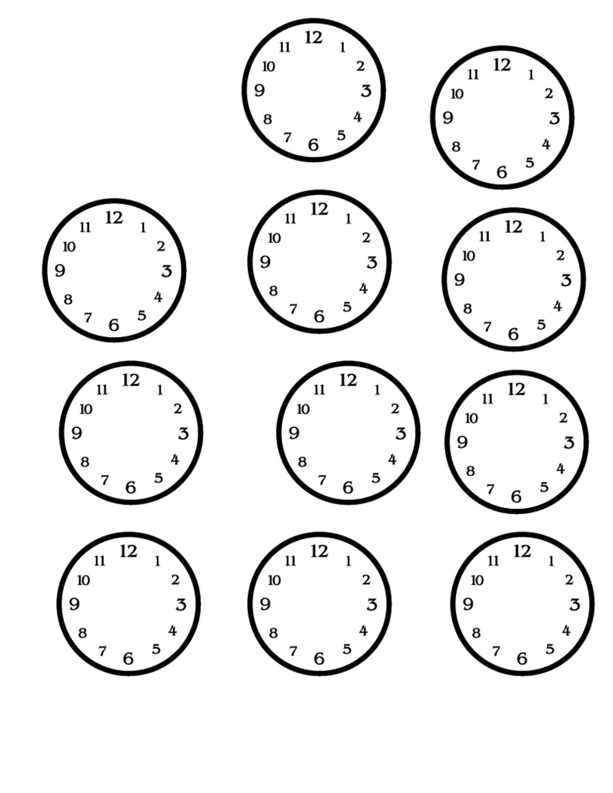 Blank Clock Faces Worksheet