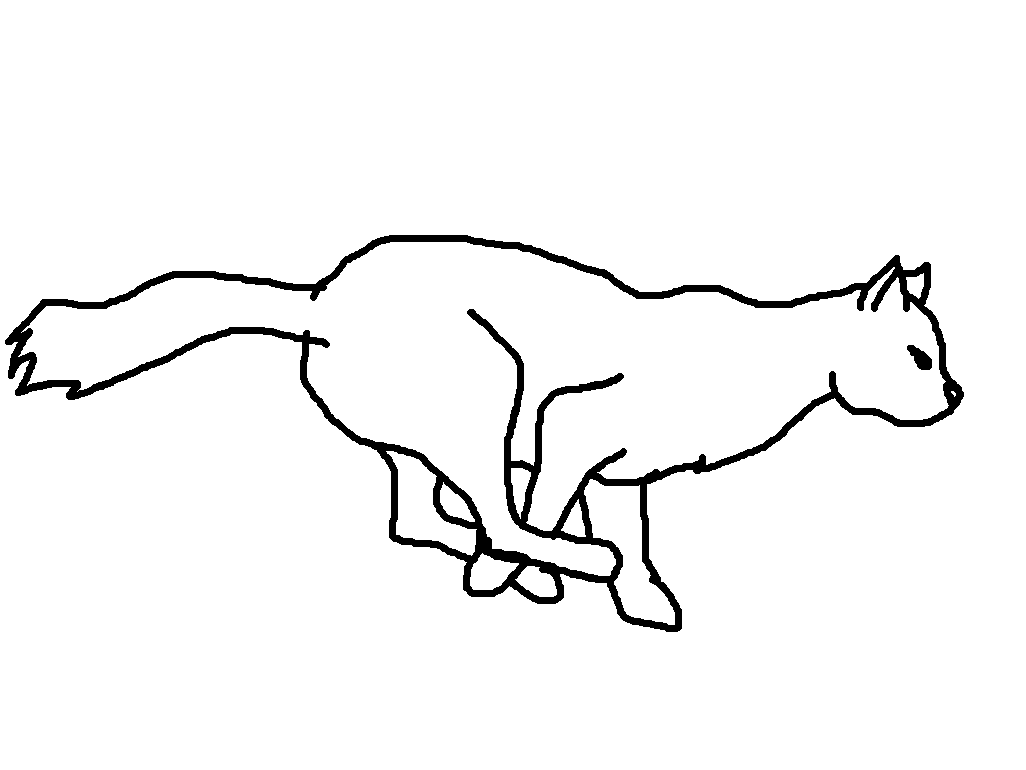 Realistic Running Cat Lineart
