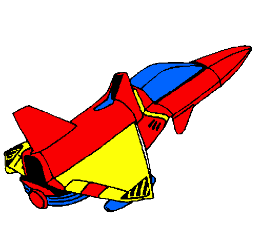 colored page rocket ship painted by adrian