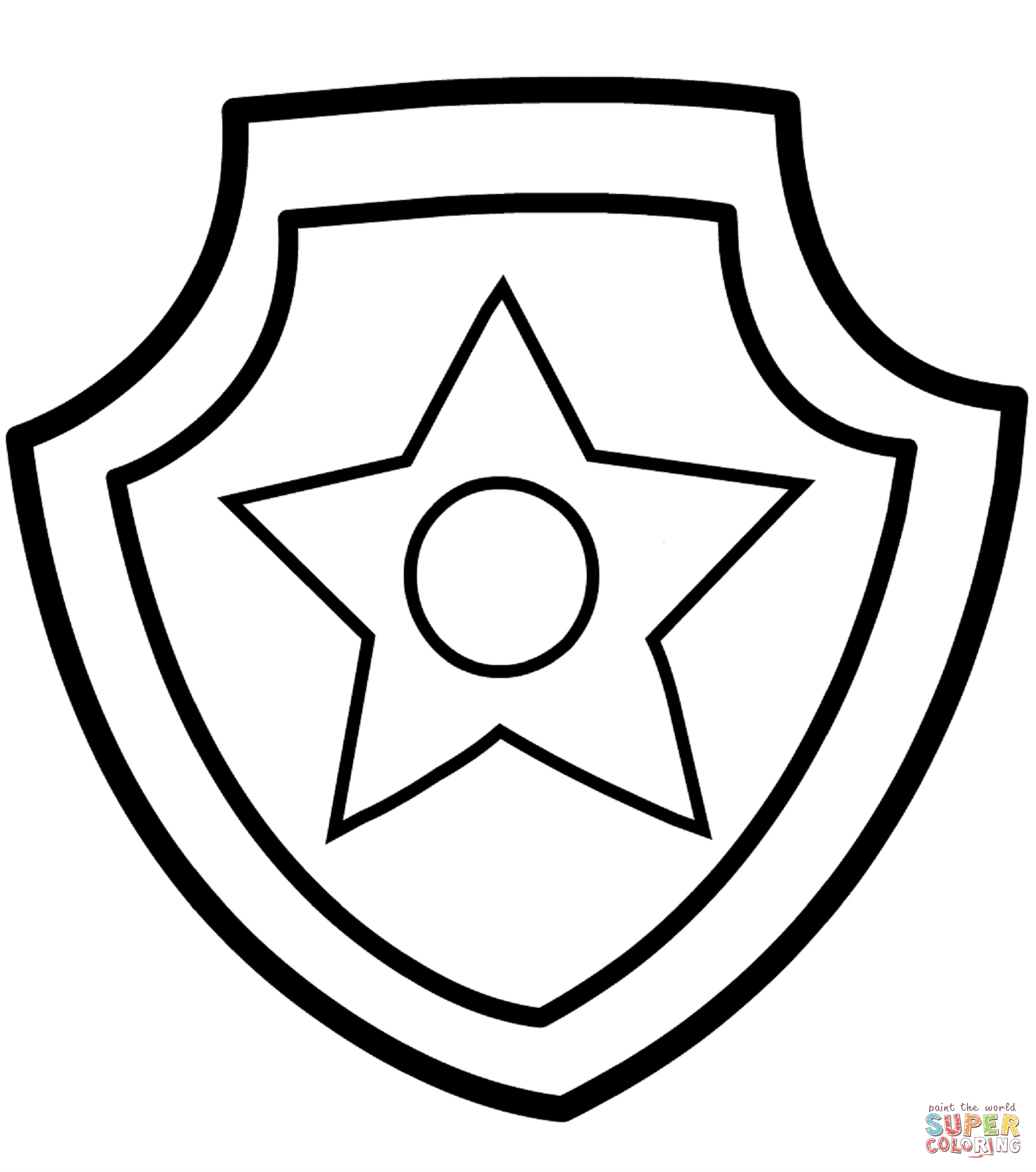 Awesome Police Badge Outline Coloring 11