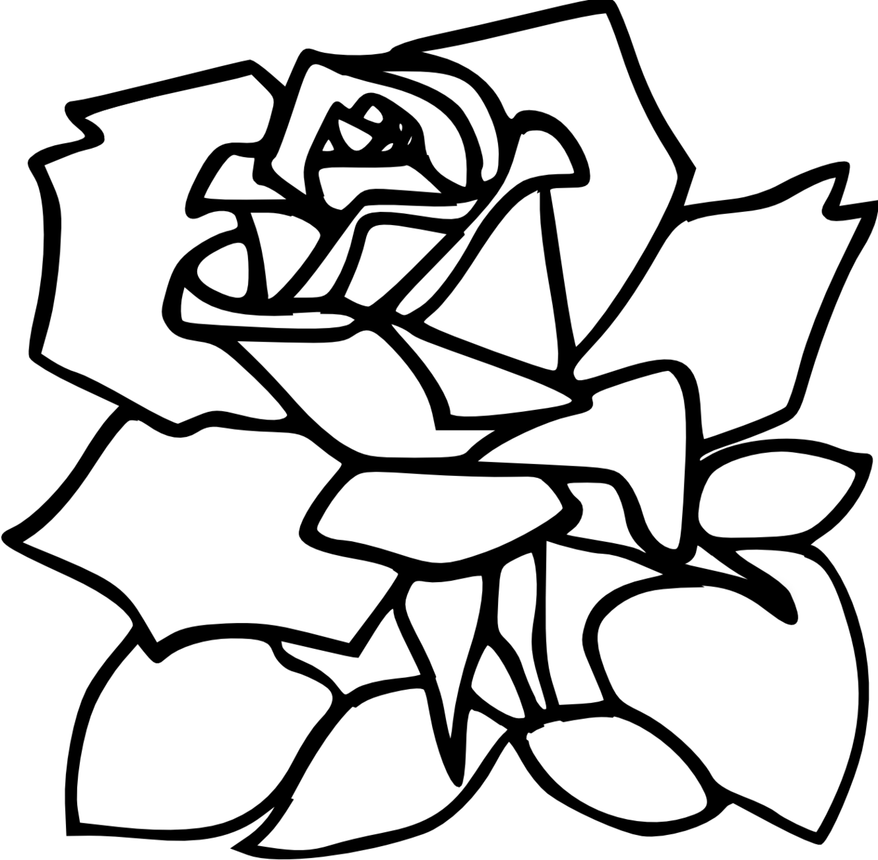 Red Rose Line Drawing
