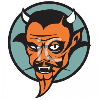 "This ""retro devil tattoo design"" clipart image can be licensed as part of a"