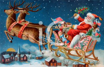 Old Fashioned Santa Claus And Reindeer Pulling Sleigh