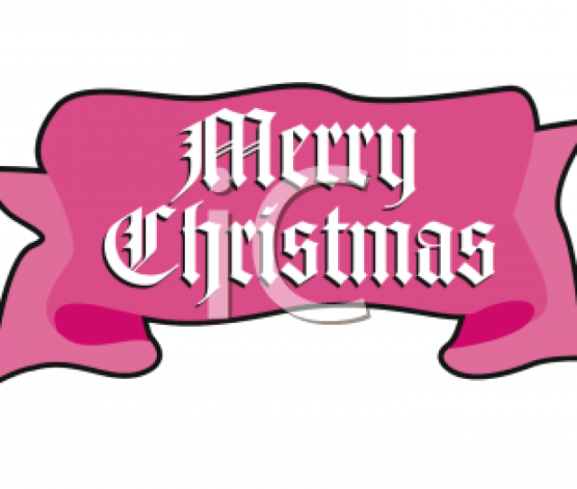 Royalty Free Clipart Image Merry Christmas Banner In The Shape Of A Ribbon