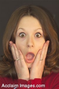 Clipart Photo of a Surprised Girl