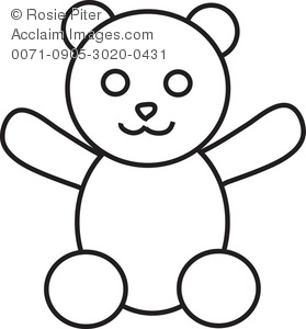clipart illustration of a teddy bear coloring page