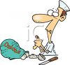 Cartoon of a Cook Cutting Himself While Peeling Onions clipart
