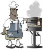 Cartoon of a Black Dad Grilling Burger clipart