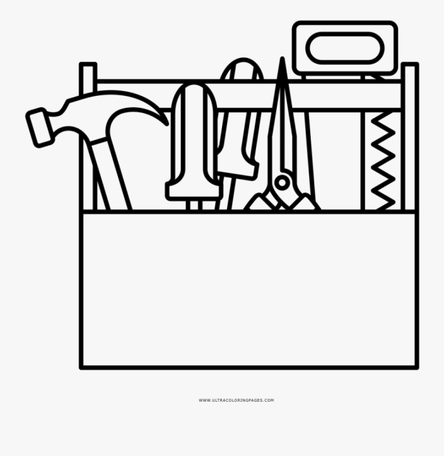 Toolbox Coloring Page - Computer Screen Design Icon , Free