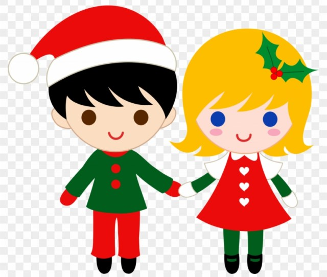 Christmas Merry Christmas Banner Clipart Kid Free Boy And Girl Holding Hands Clipart