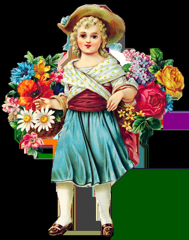 Free Flower Girl Vintage Clipart