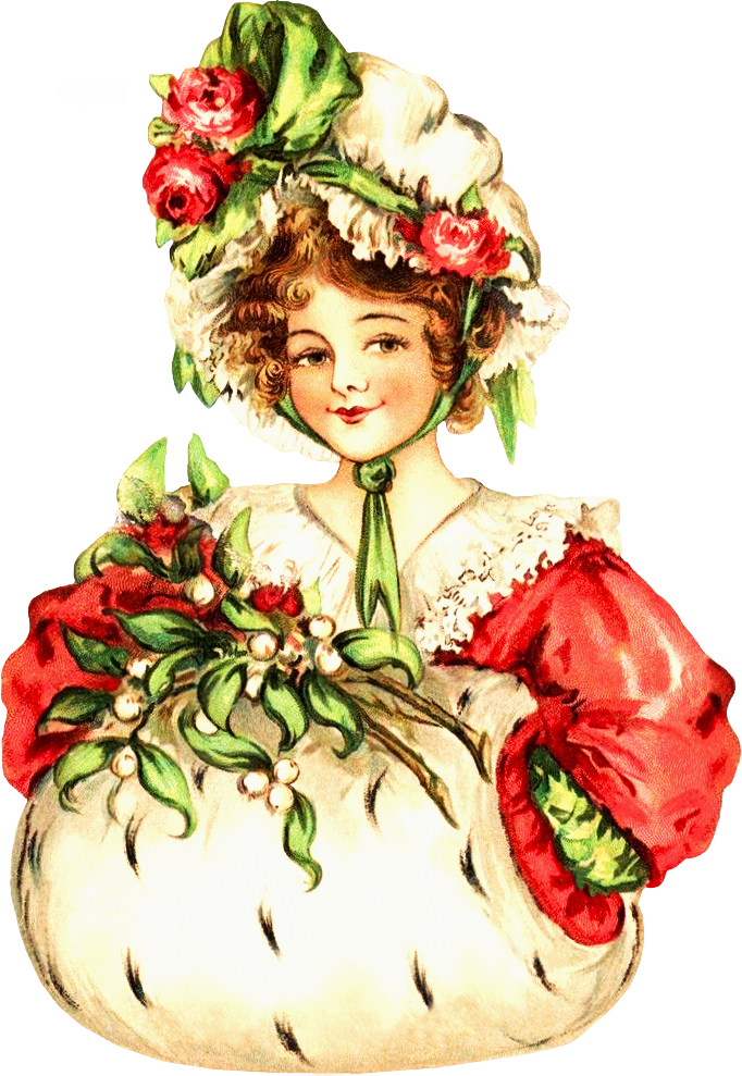 Victorian Christmas Lady Clipart