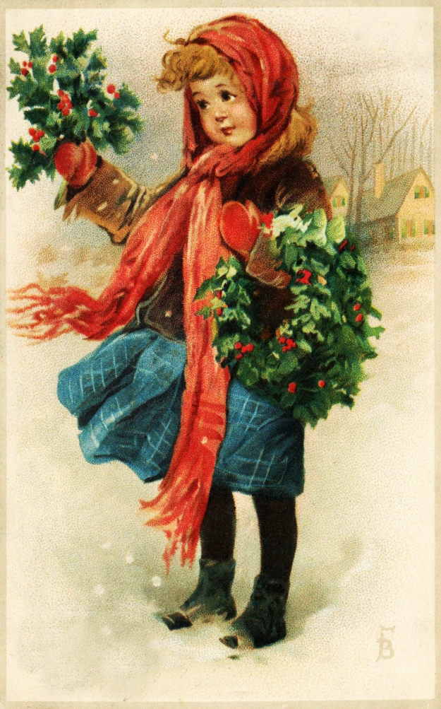 Vintage Girl With Holly Clipart