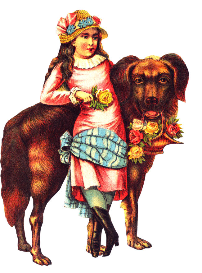 Free Victorian Girl Big Dog Clipart
