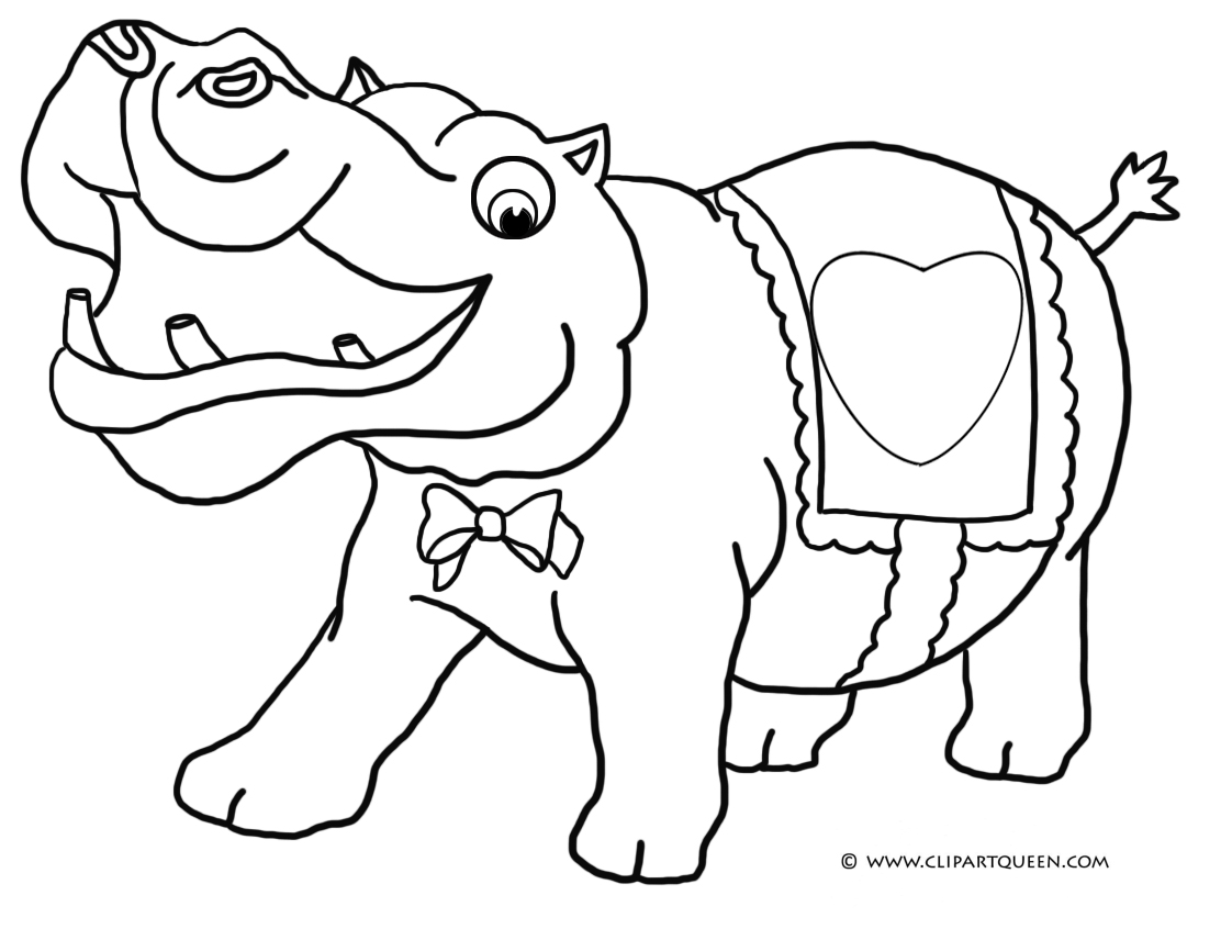 Valentine Elephant Hearts Coloring Pages