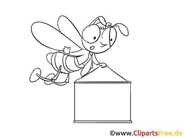 Bee With Banner Clip Art Cartoon