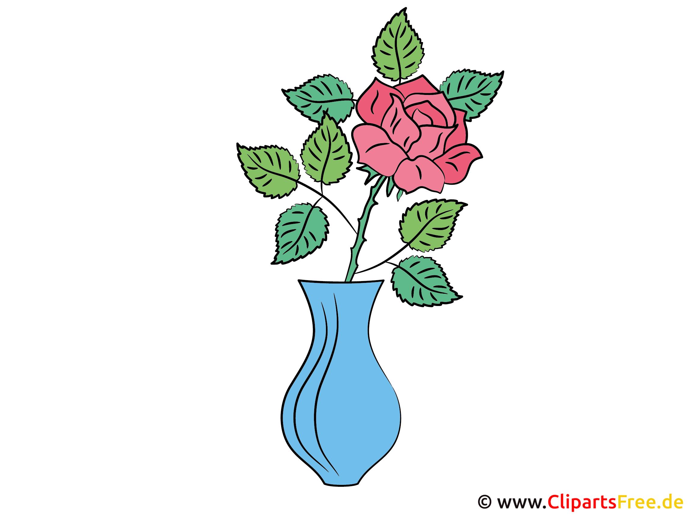 Rose In Vase Bild Clipart