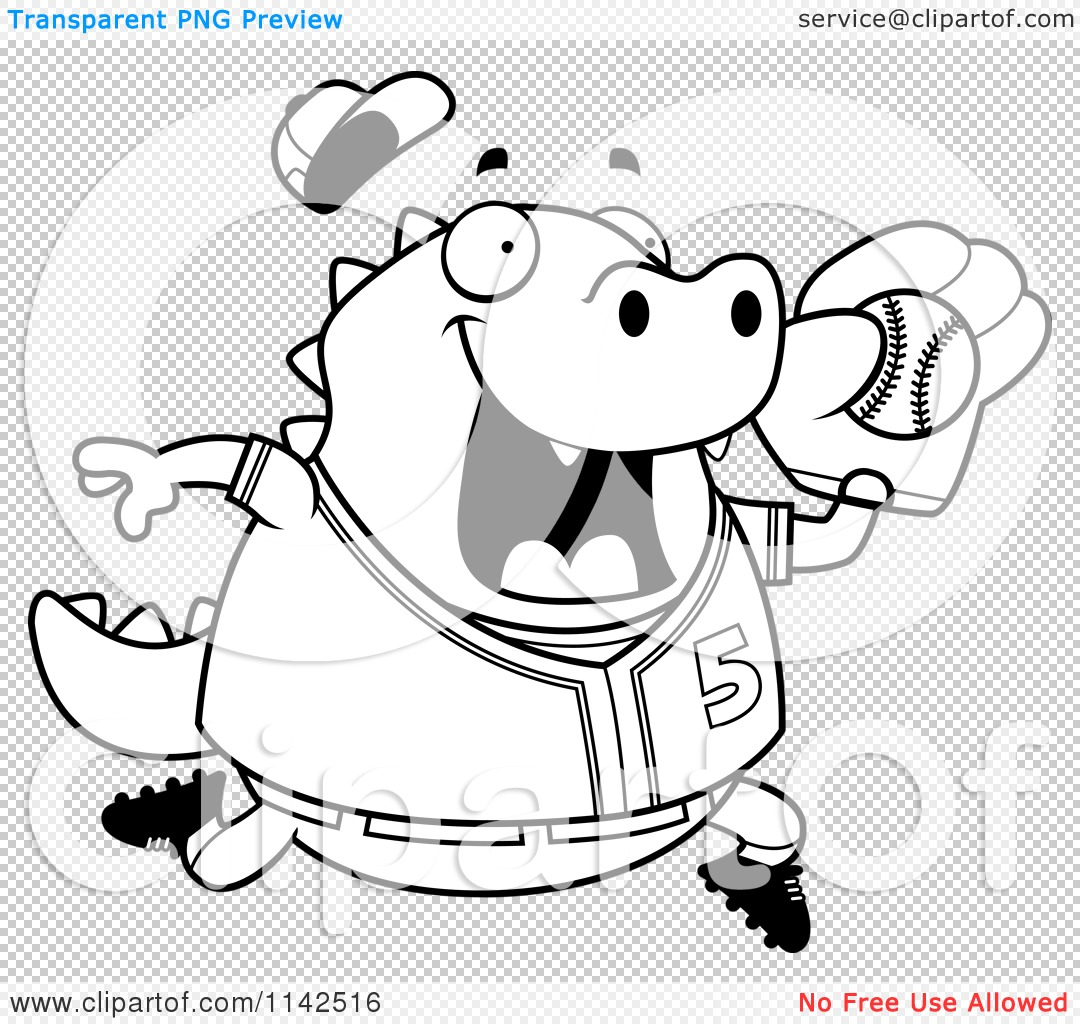 Cartoon Clipart Of A Black And White Chubby Lizard Playing Basketball Ywm1px