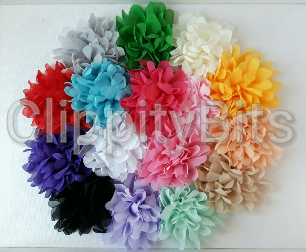 4 Inch Large Chiffon Silk Flowers Clippitybits