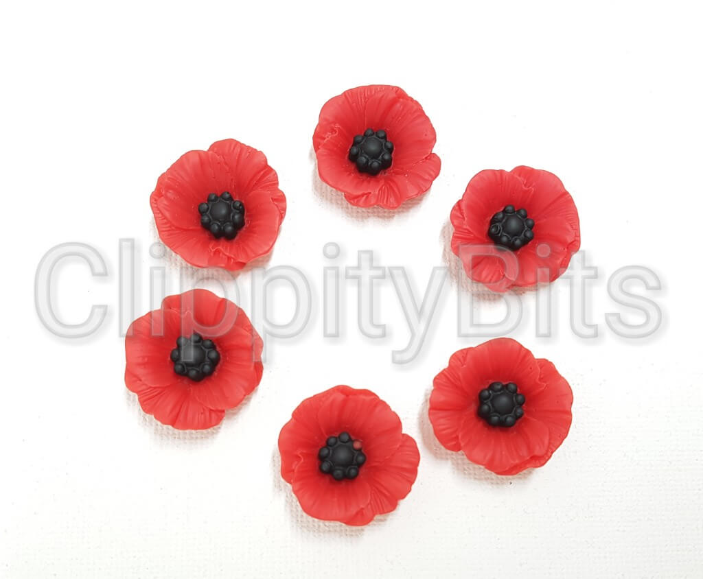 23mm Red Poppy Flower Resin Flatback Clippitybits