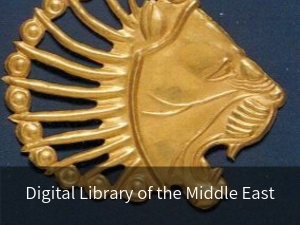 Modal box: Digital Library of the Middle East. Background image: Gold lion head applique rom the Achaemenid period 6th-4th century B.C.