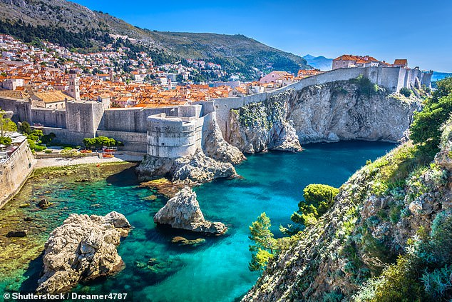 turquoise water outside the walled city of Dubrovnik.