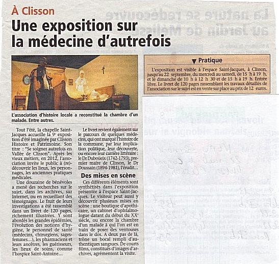 8 août 2013 - Une exposition sur la médecine d'autrefois - L'Hebdo