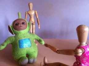 """Come quickly Mike, Teletubby is going to turn on the tele in his belly... the telebelly"""