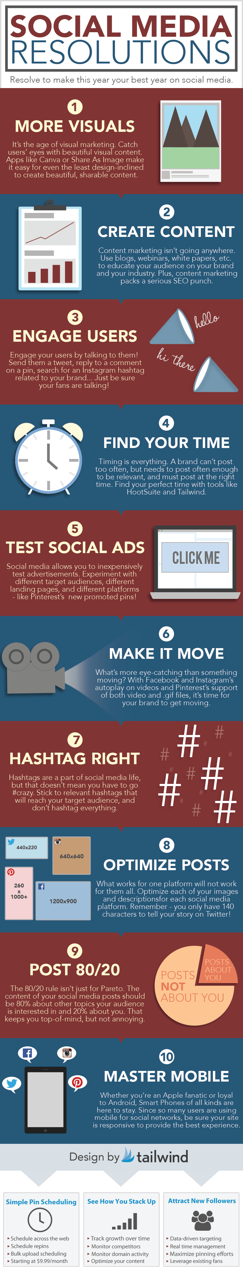 Social Media New Year Resolutions   The Clive Roach Blog Social Media New Year Resolutions infographic by tailwind