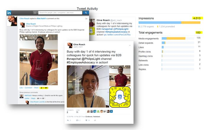 LinkedIn and Twitter posts to promote 3 Amazing Results From B2B video In 4 Days
