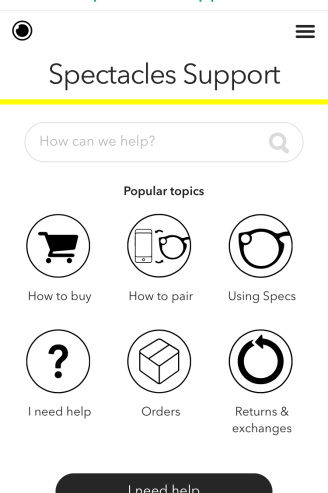 Snapchat Spectacles - Support