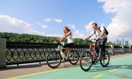 Man and woman cycling