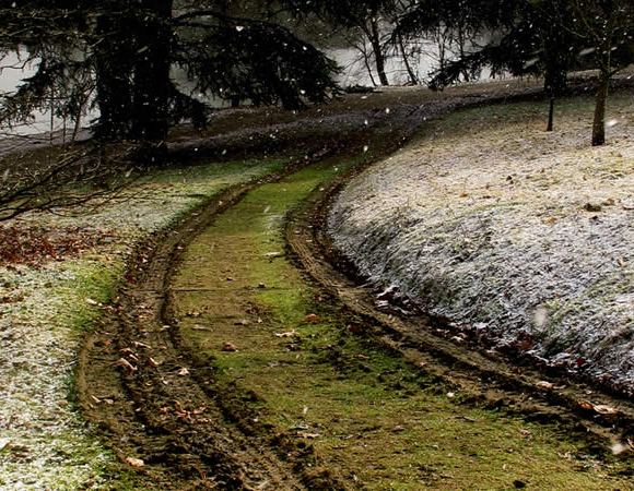 Off-road track in winter