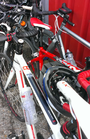 Red and white bicycles