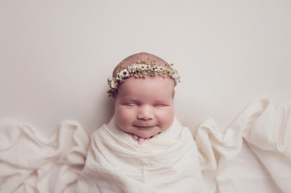 Newborn Girl with Flowers Dallas Newborn Photo Studio CLJ Photography