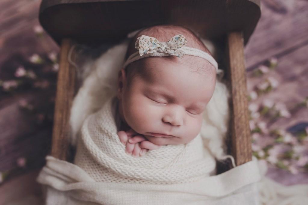 Newborn Girl with Flowers Dallas Newborn Photo Studio CLJ Photography