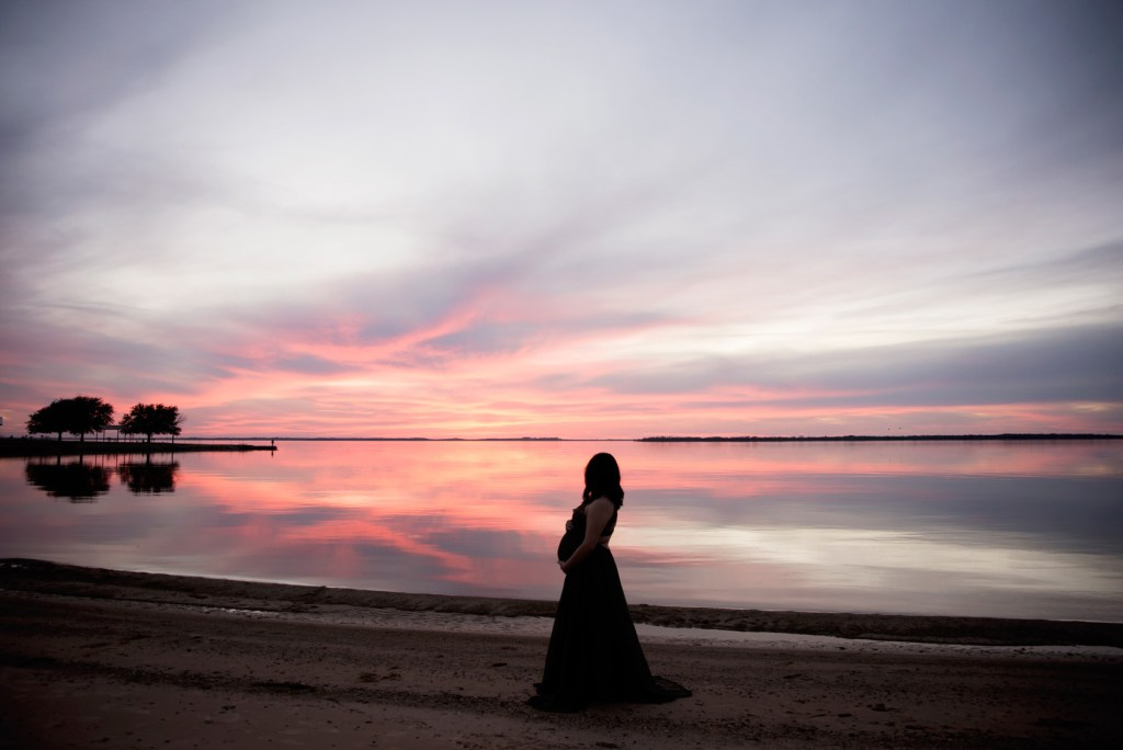 sunset maternity silhouette, maternity portrait, Best Maternity Photographer Frisco, CLJ Photography